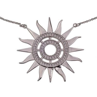 Sterling Silver Sun Theme Necklace with Cubic Zirconia