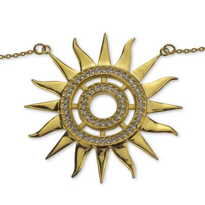 Gold Vermeil and Cubic Zirconia Handcrafted Sun Necklace