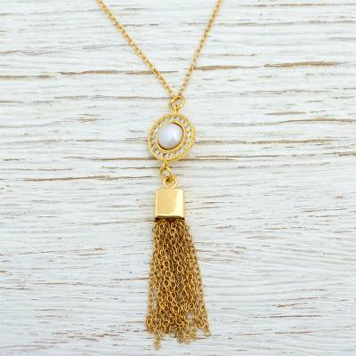 Gold plated cultured pearl pendant necklace, 'Golden Tassel' - Handcrafted Gold Plated Cultured Pearl Necklace with CZ