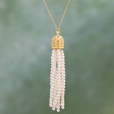 Gold plated cultured pearl pendant necklace, 'Pearl Tassel' - Cultured Pearl Necklace Crafted in Gold Plate with CZ