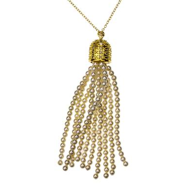 Cultured Pearl Necklace Crafted in Gold Plate with CZ