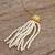 Gold plated cultured pearl pendant necklace, 'Pearl Tassel' - Cultured Pearl Necklace Crafted in Gold Plate with CZ (image 2b) thumbail