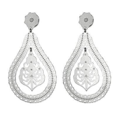 Lace Motif Rhodium Plated Sterling Silver Dangle Earrings