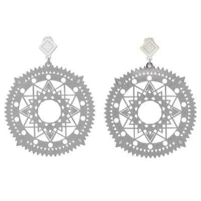 Rhodium Plated Silver Earrings with Cutout Star Motifs