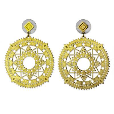 Gold Plated Circular Earrings with Cutout Star Motifs