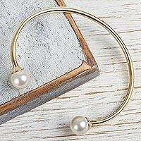 Gold plated cultured pearl cuff bracelet, 'Twin Luminescence' - Gold Plated Handcrafted Cultured Pearl Cuff Bracelet