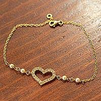 Gold plated cultured pearl heart bracelet, 'Sweet Romance' - Mexican Gold Plated Cultured Pearl Heart Bracelet