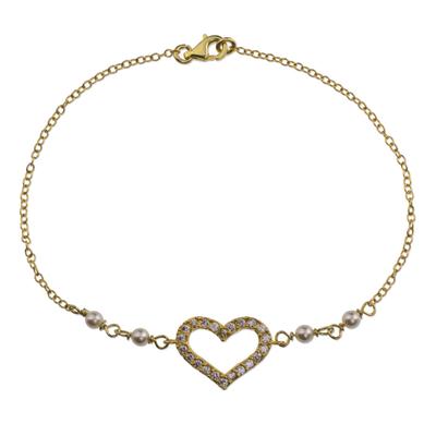 Artisan Crafted 22K Gold Plated Sterling Silver Heart Pendant Bracelet