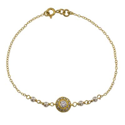 Gold plated cultured pearl pendant bracelet, 'Luminous Glow' - Mexican Gold Plated Cultured Pearl Bracelet