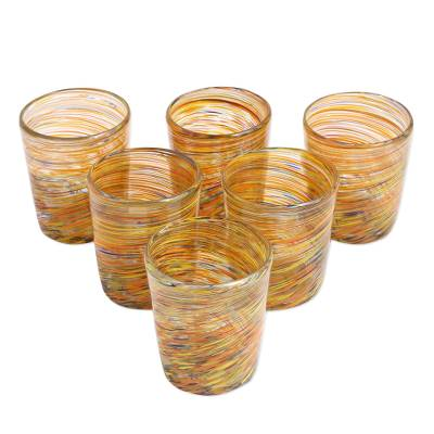 Blown glass rock glasses, 'Rainbow Centrifuge' (set of 6) - Mexican Multicolor 8 oz Rock Glasses Hand Blown Set of 6