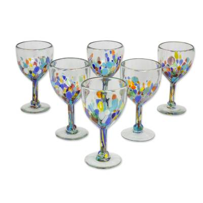 Blown glass wine glasses, 'Confetti Festival' (set of 6) - Hand Blown Colorful 8 oz Wine Glasses (Set of 6)