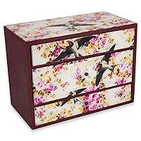 Decoupage box, 'Swallows in Flight' - Bird Theme Decoupage Decorative 3-Drawer Wood Box