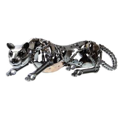 Auto part sculpture, 'Fierce Panther' - Eco Friendly Mexican Recycled Auto Part Panther Sculpture