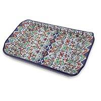 Ceramic serving tray, 'Guanajuato Festivals' - Multicolor Floral Ceramic Square Serving Tray from Mexico