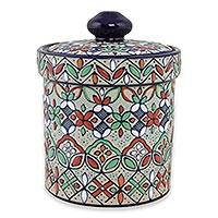 Ceramic cookie jar, 'Guanajuato Festivals' - Floral Artisan Crafted Ceramic Cookie Jar from Mexico