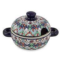 Ceramic covered sauce dish, 'Guanajuato Festivals' - Mexican Handcrafted Floral Ceramic Sauce Dish with Lid
