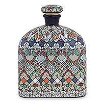 Ceramic decanter, 'Guanajuato Festivals' - Multicolor Floral Ceramic Decanter and Cork Lid
