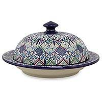 Ceramic covered serving dish, 'Valenciana Violets' - Artisan Crafted Ceramic Floral Serving Dish with Cover