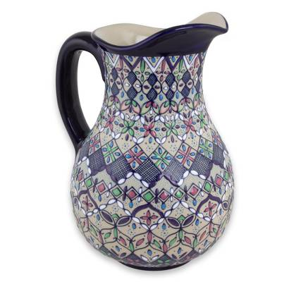 Ceramic pitcher, 'Valenciana Violets' - Floral Ceramic Artisan Crafted Serving Pitcher from Mexico