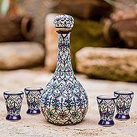 Ceramic shot glasses, 'Valenciana Violets' (set of 4) - Four Handcrafted Mexican Ceramic Tequila Shot Glasses