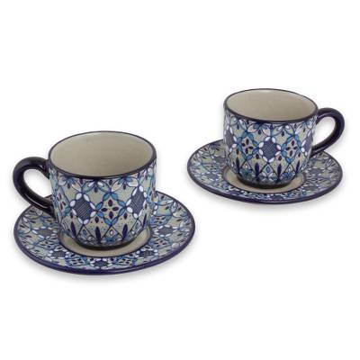 Ceramic cups and saucers, 'Blue Bajio' (set for 2) - Mexican Blue Ceramic Cups and Saucers (Set for 2)
