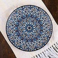 Ceramic serving plate, 'Blue Patzcuaro' - Mexican Hand Painted Blue Ceramic 11-Inch Serving Plate