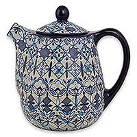 Ceramic coffee pot, 'Blue Bajio' - Handcrafted Ceramic Floral Coffee Pot in Blues on Beige