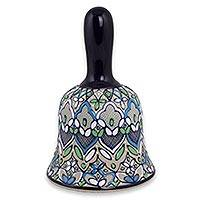 Ceramic bell, 'Spring in Salvatierra' - Artisan Crafted Floral Ceramic Ringing Bell from Mexico