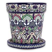 Ceramic flower pot and saucer,