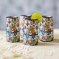 Ceramic shot glasses, 'Guanajuato Festivals' (set of 4) - Multicolor Ceramic Tequila Shot Glasses (Set of 4)