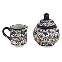 Ceramic sugar bowl and creamer, 'Guanajuato Festivals' - Mexican Ceramic Artisan Crafted Sugar Bowl and Creamer Set