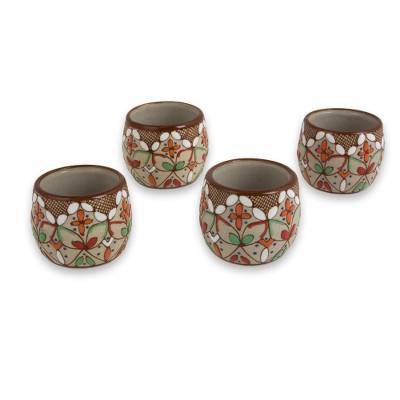 Ceramic cordial glasses, 'Aztec Autumn' (set of 4) - Mexican Ceramic 1 oz Cordial Glasses (Set of 4)