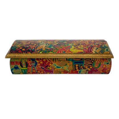 Decoupage jewelry box, 'Huichol Fiesta' - Huichol Theme Decoupage Jewelry Box with Mirror