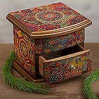 Decoupage jewelry box, 'Huichol Vision' - Contemporary Handcrafted Multicolor Decoupage Gold Trimmed j