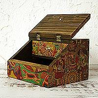Decoupage jewelry box, 'Huichol Essence' - Huichol Cosmogony on 6-Inch Decoupage Wood Jewelry Box