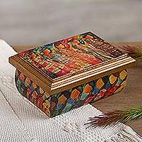 Decoupage jewelry box, 'Huichol Women' - Huichol Women on Wood Decoupage Jewelry Box with Mirror
