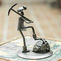 Auto part sculpture, 'Rustic Miner' - Upcycled Metal Sculpture of Miner at Work in Mexico