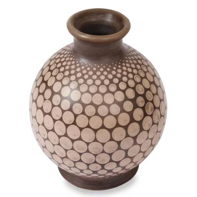 Ceramic vase, 'Earthen Circles' - Handcrafted Beige and Brown Ceramic Decorative Vase