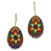 Beadwork ornaments, 'Huichol Star' (pair) - Handcrafted Original Huichol Beadwork Ornaments (Pair)