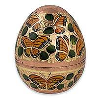 Copper egg, 'Dance of the Monarch Butterfly' (5 inch) - Gold Leaf on Copper Egg 5-Inch Hand Crafted Decorative Box
