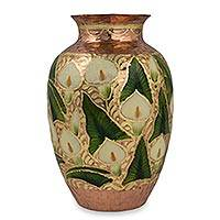 Copper vase, 'Dance of the Calla Lilies' - Artisan Crafted Copper Vase with Flowers and 22k Gold Leaf