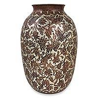Copper and sterling silver vase, 'Michoacan Flowers' - Copper and Sterling Silver Artisan Crafted Mexican Vase