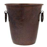 Copper ice bucket, 'Hacienda Charm' (8.5 inch) - Dark Copper 8.5 Inch Ice Bucket Crafted by Hand in Mexico