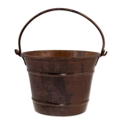 Dark Copper 7-Inch Bucket Crafted by Hand in Mexico