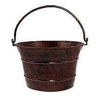 Copper bucket, 'Hacienda Charm' (7 inch) - 7 Inch Dark Copper Bucket Crafted by Hand in Mexico