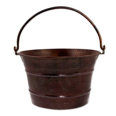 7 Inch Dark Copper Bucket Crafted by Hand in Mexico