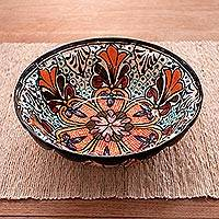 Ceramic serving bowl, 'Radiant Flowers' - Handcrafted Talavera-Style Floral Ceramic Serving Bowl