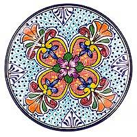 Ceramic salad plates, 'Floral Joy' (pair) - Mexican Handcrafted 9-Inch Ceramic Salad Plates (Pair)