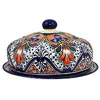 Ceramic covered serving plate, 'Radiant Flowers' - Handcrafted Talavera-Style Ceramic Covered Serving Plate