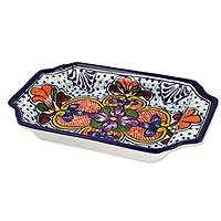 Ceramic rectangular tray, 'Radiant Flowers' - Handcrafted Rectangular 10-Inch Ceramic Tray from Mexico
